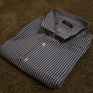 blue white checker dress shirt 18.5 34/35